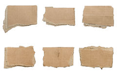 Collection of ripped  brown pieces of cardboard, no shadows Stock Photography