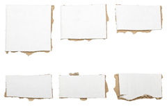 Collection of ripped  white pieces of cardboard, no shadows Stock Photos