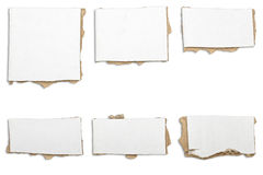 Collection of ripped  white pieces of cardboard, shadows Stock Photography
