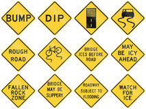 Collection of road condition warning signs used in the USA Royalty Free Stock Photography