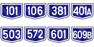 Collection of Road markers for County roads in Romania Stock Photo