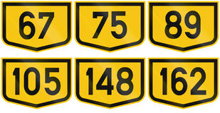 Collection of Road markers for Municipal roads in Romania Royalty Free Stock Image