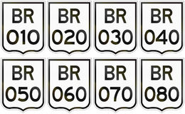 Collection of road shields of Brazilian federal highways.  Royalty Free Illustration