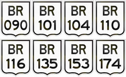 Collection of road shields of Brazilian federal highways.  Royalty Free Stock Photos