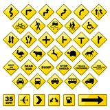 Road Signs. Collection of 37 Road Signs royalty free illustration