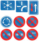 Collection of Road Signs Used in Belgium Stock Photo