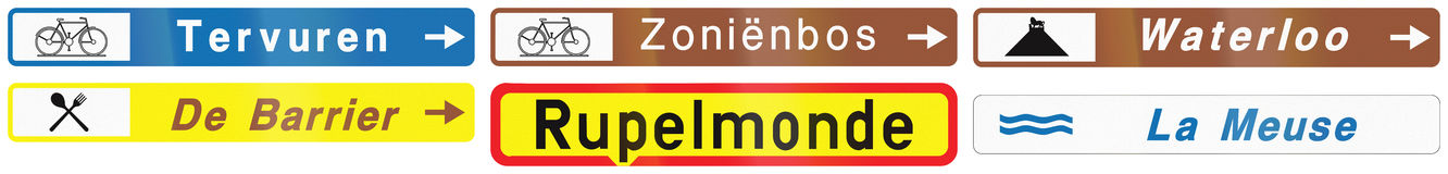 Collection of Road Signs Used in Belgium Royalty Free Stock Photos