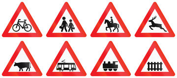 Collection of Road Signs Used in Denmark stock illustration