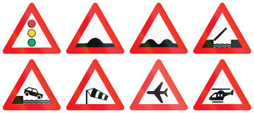 Collection of Road Signs Used in Denmark Stock Photography