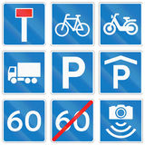 Collection of Road Signs Used in Denmark Stock Images