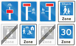 Collection of Road Signs Used in Denmark.  Stock Image