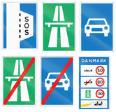 Collection of Road Signs Used in Denmark Royalty Free Stock Images
