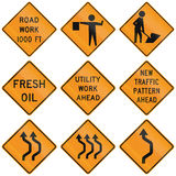 Collection of roadwork warning signs used in the USA Stock Image