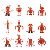 Collection of robot icons Royalty Free Stock Images