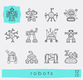 Collection of robot icons. Royalty Free Stock Image