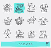 Collection of robot icons. Stock Images