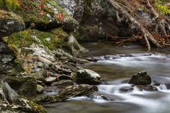 Collection of rocks and deadfall by a river in the Great Smoky Mountains Stock Image