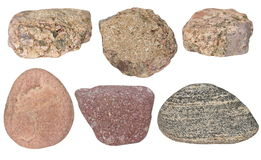 Collection Rocks isolated on white Stock Image