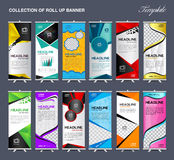 Collection of Roll Up Banner Design stand template vector illust. Collection of Roll Up Banner Design stand template, flyers, banners, labels, roll-up and card Royalty Free Stock Photos