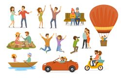 Collection of romantic activities of couples in love, disco club dance, sing karaoke songs, sitting in park on a bench, hot air ba. Lloon flying trip, picnic stock illustration