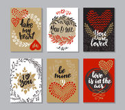 Collection of romantic and love cards with hand drawn elements. Hearts, flowers, branches and handwritten lettering. Valentine s Day or wedding backgrounds Royalty Free Stock Images