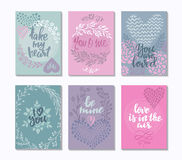 Collection of romantic and love cards with hand drawn elements. Hearts, flowers, branches, vignettes and handwritten lettering. Valentine s Day or wedding Royalty Free Stock Image