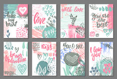Collection of romantic and love cards with hand drawn elements. Hearts, flowers, textures and handwritten lettering. Valentine s Day or wedding backgrounds Stock Photo
