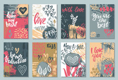 Collection of romantic and love cards with hand drawn elements. Hearts, flowers, textures and handwritten lettering. Valentine s Day or wedding backgrounds Royalty Free Stock Photos