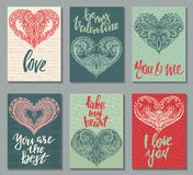 Collection of romantic and love cards with hand drawn elements. Hearts, textures and handwritten lettering. Valentine s Day or wedding backgrounds. Vector Royalty Free Stock Photo