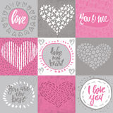 Collection of romantic and love cards with hand drawn elements. Hearts, textures and handwritten lettering. Valentine s Day or wedding backgrounds. Vector Stock Photo