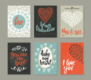 Collection of romantic and love cards with hand drawn elements. Hearts, textures and handwritten lettering. Valentine s Day or wedding backgrounds. Vector Royalty Free Stock Photography