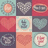 Collection of romantic and love cards with hand drawn elements. Hearts, textures and handwritten lettering. Valentine s Day or wedding backgrounds. Vector Stock Photos