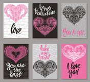 Collection of romantic and love cards with hand drawn elements. Hearts, textures and handwritten lettering. Valentine s Day or wedding backgrounds. Vector Stock Image