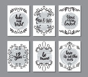 Collection of romantic and love cards with hand drawn elements. Textures, vignettes and handwritten lettering. Valentine s Day or wedding backgrounds. Vector Royalty Free Stock Images