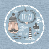 Collection with romantic sea life characters Stock Photo
