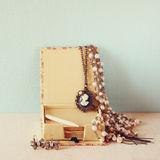 A collection of romantic vintage jewelry. retro filtered image Royalty Free Stock Photography