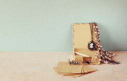 A collection of romantic vintage jewelry. retro filtered image Stock Images