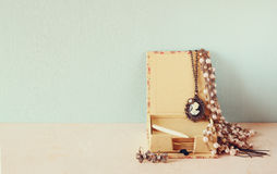 A collection of romantic vintage jewelry. retro filtered image Royalty Free Stock Photo