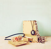 A collection of romantic vintage jewelry. retro filtered image Stock Photography