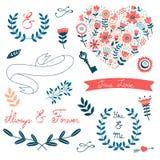 Collection romantique avec des fleurs, guirlandes Image stock