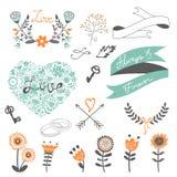 Collection romantique avec des fleurs, guirlandes Photographie stock