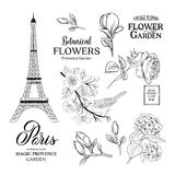 Collection romantique de Paris illustration stock