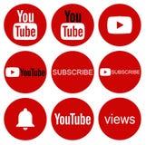 Collection ronde d'icône de YouTube sur le blanc photographie stock