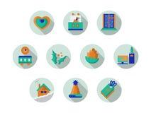 Collection ronde d'icônes pendant des vacances de Noël Photographie stock libre de droits