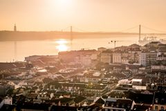 A view of Baixa de Lisbon from Castelo de São Jorge stock photo