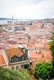 A view of Baixa de Lisbon from Castelo de São Jorge. A collection of rooftops in seen from Castelo de São Jorge Royalty Free Stock Images