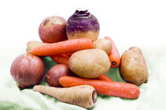 Collection of root vegetables. A still life of freshly picked organic root vegetables Royalty Free Stock Image