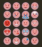 Collection rose d'emojis de sourire avec le fond foncé Image stock