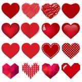 Collection rouge de coeur de vecteur Photographie stock