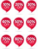 Collection rouge de label de vente Photographie stock